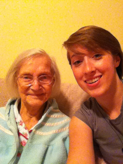 """Nona and me in 2011. """"That doesn't look like any camera I've ever seen,"""" she'd say of my iPhone."""
