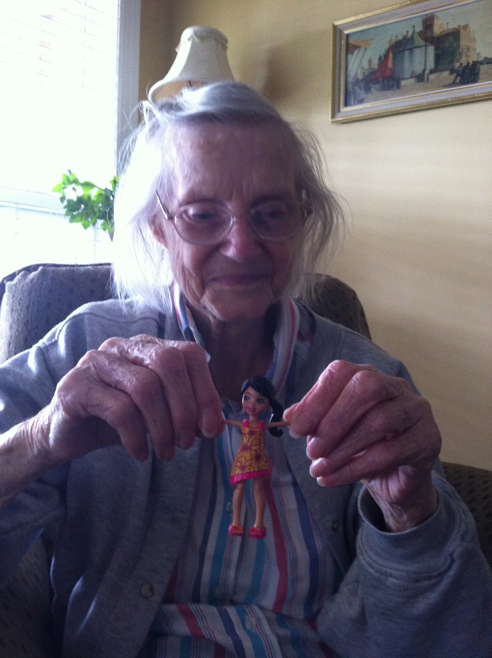 Visiting Nona in the assisted living home on the Fourth of July in 2012. I thought a toy might cheer her up.