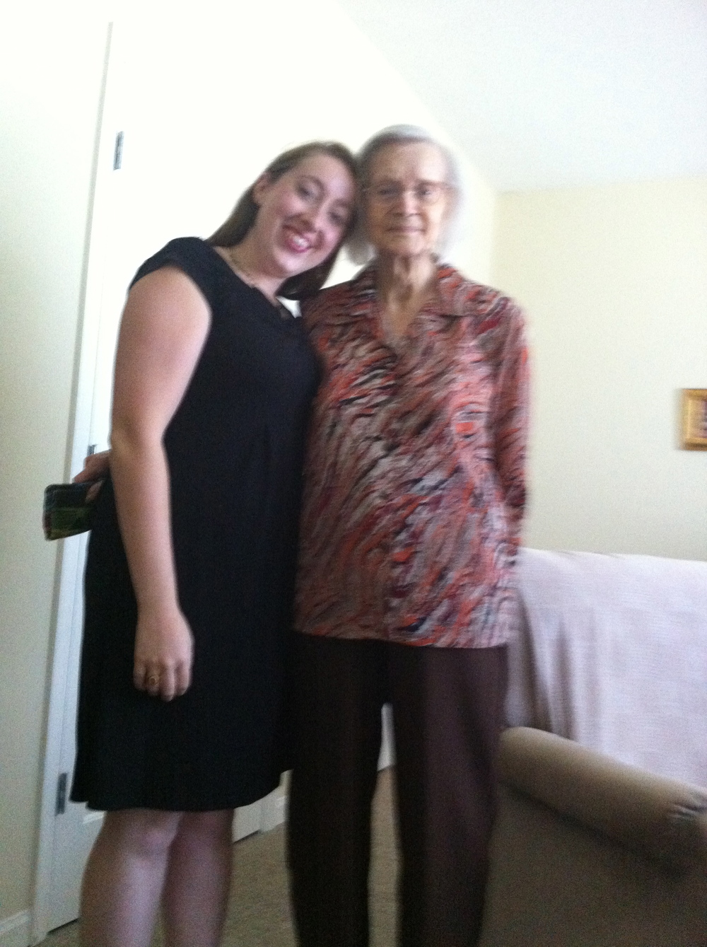 """Just a few years ago, Nona had towered over me. She was a regal woman at 5'8"""" or so, but over the years--between my growing up and her shrinking--I caught up to her. When I visited around this time, her verbal filter had really disappeared because she'd look at me and say, """"Purts, you sure have put on a lot of weight."""" It was hard to resent her for it because I knew she didn't know what she was saying, but I did let it inspire me to go on a diet. 18 pounds down and counting!"""