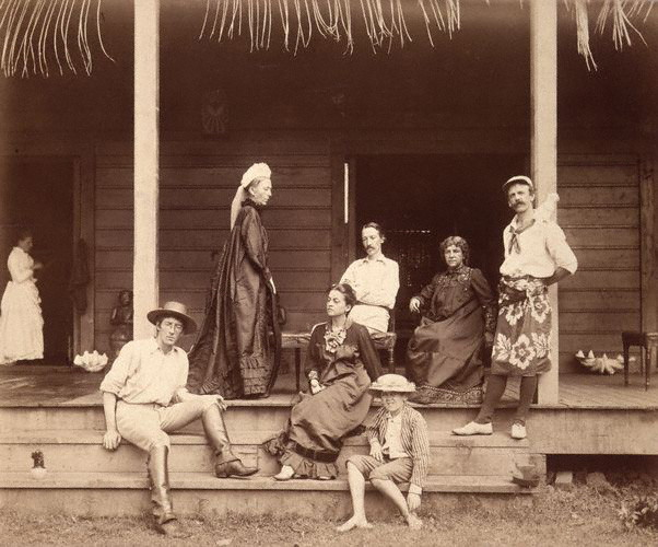 Robert Louis Stevenson (middle) with his mother, wife, and stepchildren at Villa Vailima, their home in Samoa. Public domain since copyright has expired: Wikimedia Commons