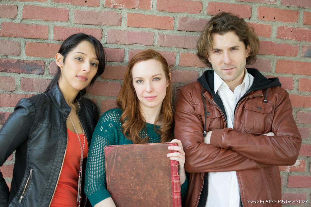 From left to right: Cara (Alice's roommate), Alice (who's living her life according to classic literature), and Andrew (Alice's love interest). Photo by Aaron Matthew Kaiser for the Classic Alice web series.