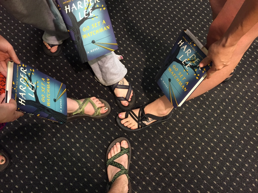 One must wear proper footwear to midnight book releases. You never know when there'll be a stampede to the books.