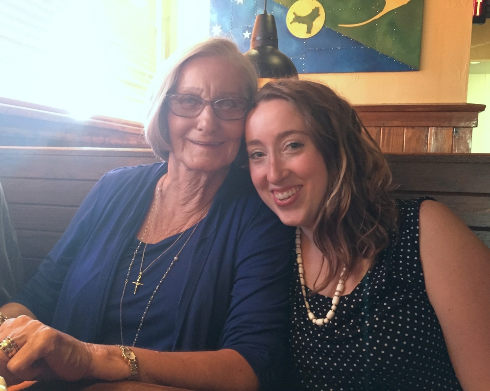 My sweet Granny, left; me and my wild hair day, right. This picture was taken at Outback Steakhouse for her 74th birthday, but we're not here to judge her taste in chain restaurants.