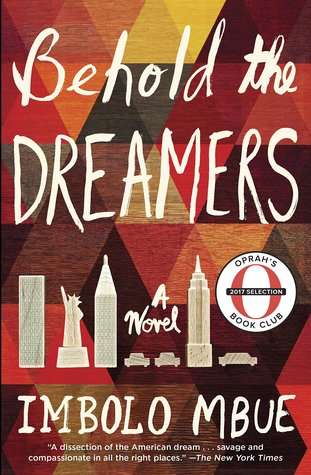 [image description: the book cover of Behold the Dreamers. The background is a monochromatic triangle pattern with the title and author's name overlaid in a handwriting type font. There are also cartoon drawings of cars, the Statue of Liberty, the Empire State Building, and The Chrysler Building.]