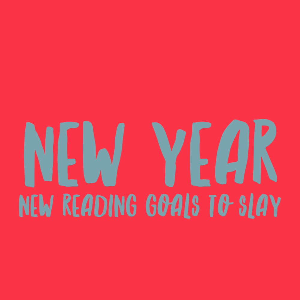 "[image description: red background with the words ""new year, new reading goals to slay, in blueish gray font]"
