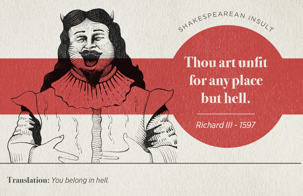 "[image description: infographic of a Shakespearean insult that says ""thou art unfit for any place but hell.""]"