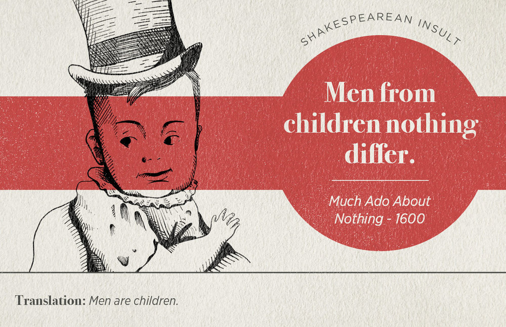 "[image description: infographic with a Shakespearean insult that says ""Men from children nothing differ.""]"