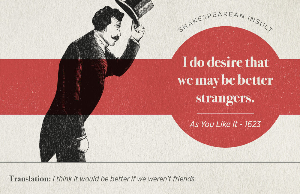 "[image description: an infographic with a Shakespearean insult that says ""I do desire that we may be better strangers.""]"