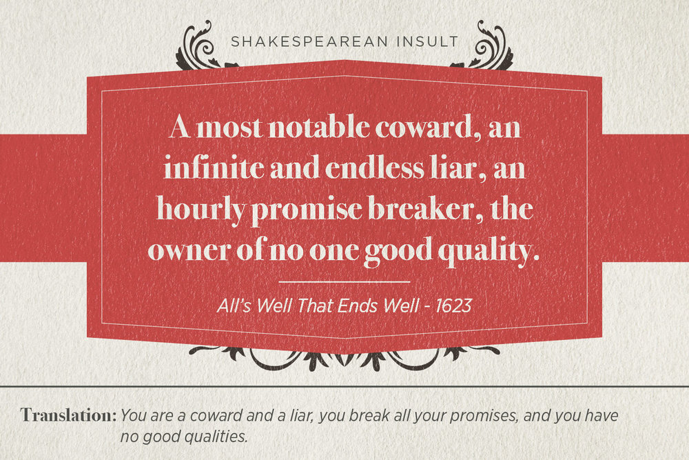 "[image description: an infographic with the Shakespearean insult: ""A most notable coward, an infinite and endless liar, an hourly promise breaker, the owner of no one good quality.]"