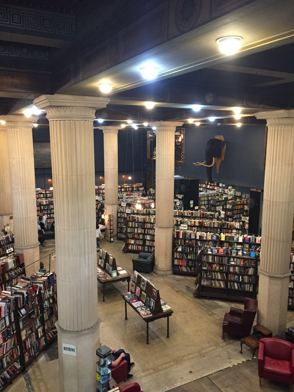 [image description: Another view of the lower floor of the bookstore as seen from the balcony. There are fluted columns from floor to ceiling, rows of bookshelves and tables full of books, and a number of red leather chairs, some of which have customers resting in them. There's a large taxidermic elephant head on the wall, which I hope is fake.]