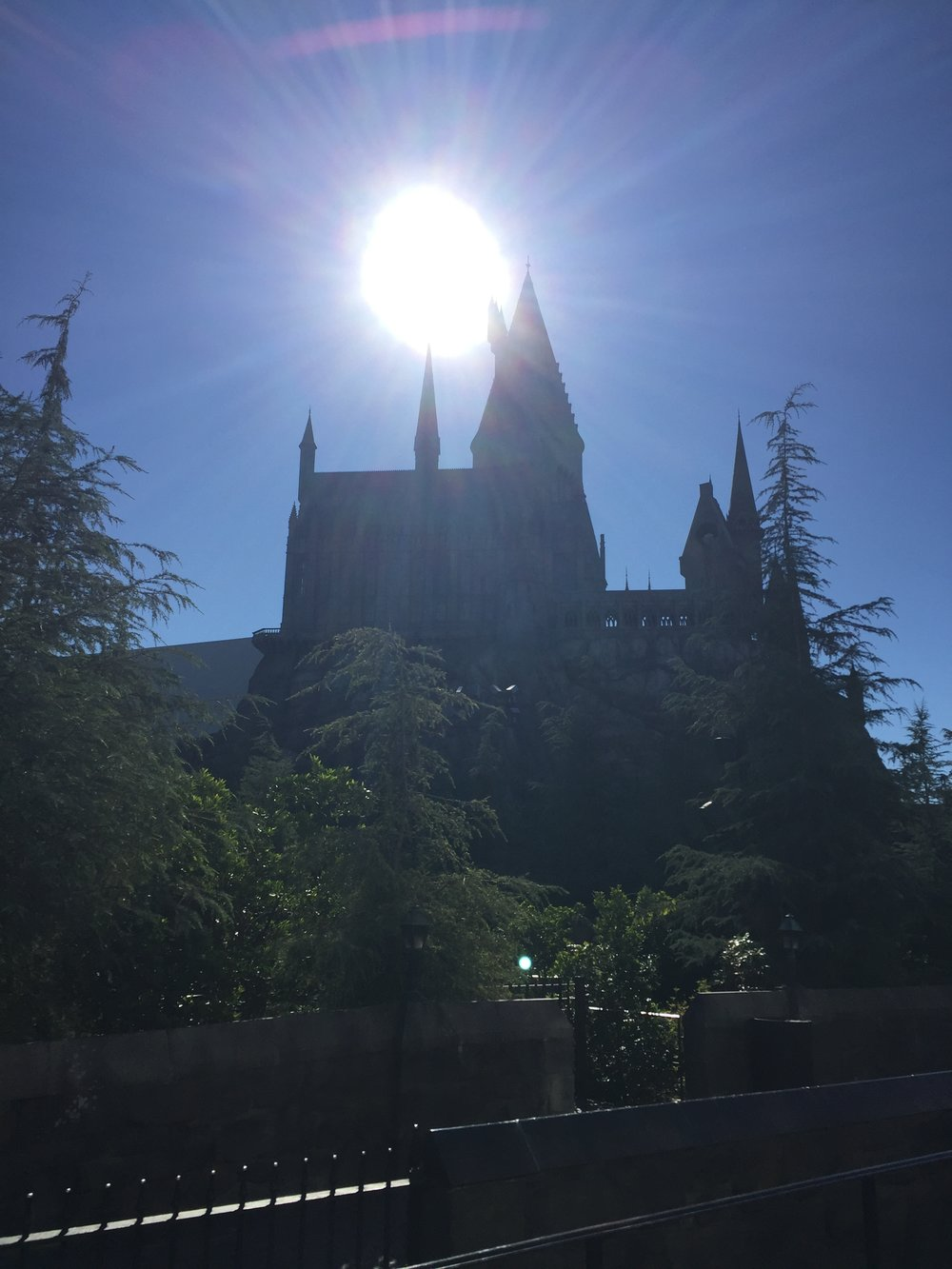 [image description: The huge, stately Hogwarts castle in all its glory––turrets, bridges, spires, and all––with the morning sun shining large in the background.]