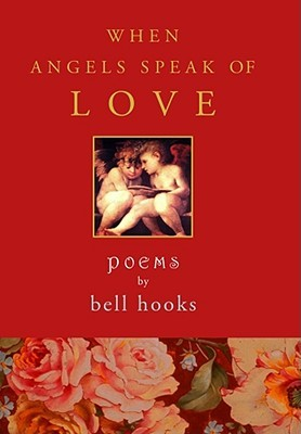 [image description: The book cover for When Angels Speak of Love. There are two cherubs looking over a book together. The background is red and there's a band of flowers across the bottom of the cover.]