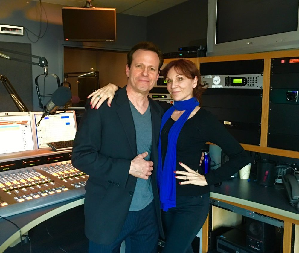 Mark Thompson with Marilu Henner after recording an episode of The Edge