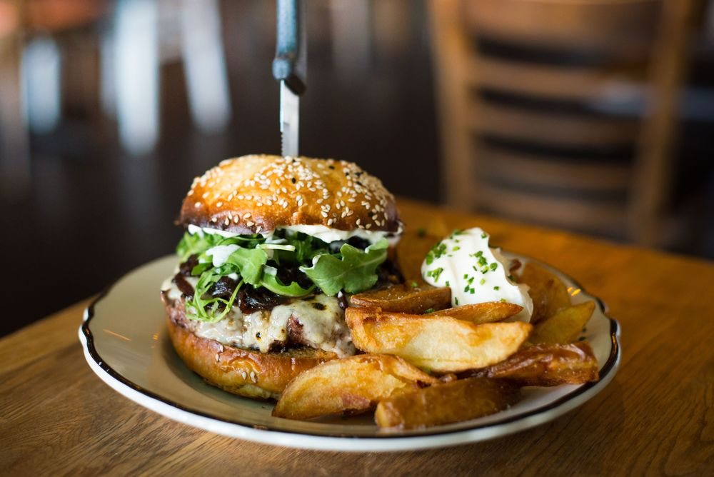 Our Saint John's Burger with handcut Yukon gold fries and aioli.