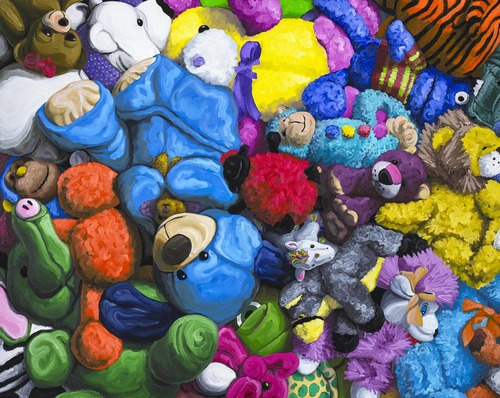Highly Saturated And Textured Oil Paintings Of Stuffed Animals By
