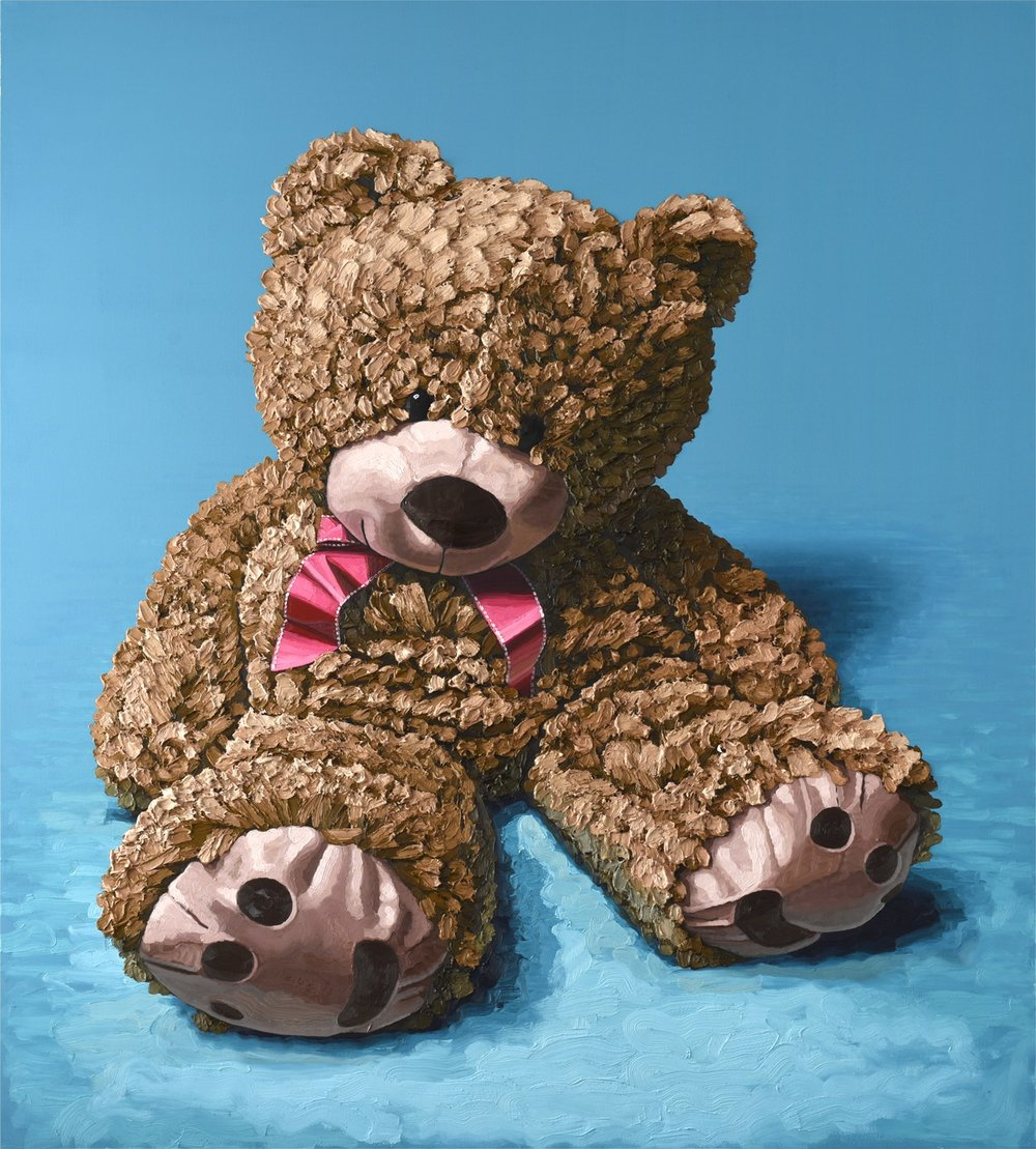 """Brown Bear Sitting"", oil on canvas, 84""x72"" 2018"