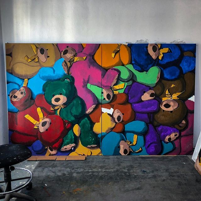 "Just getting started #WIP 72""x120"" 😜😜😜🐻🐻🐻🎨🎨🎨 Color-Combination-Underpainting! Each time I create a painting I make sure to push myself even further than my previous paintings. Going into this piece, I thought that I had fully explored the creation of color however, while creating the color palette for this piece I realized that I learned so much more about color: transitions of values from dark to light, the warmth or coolness of the darker values, beautiful new combinations of pigments, etc... Easily the most exciting and engaging thing about creating art is that it will be forever a learning experience, and there are few things better than that 😜 All enquires please email ✉️ info@jameswrightgallery.com ✉️ www.brentestabrook.com 