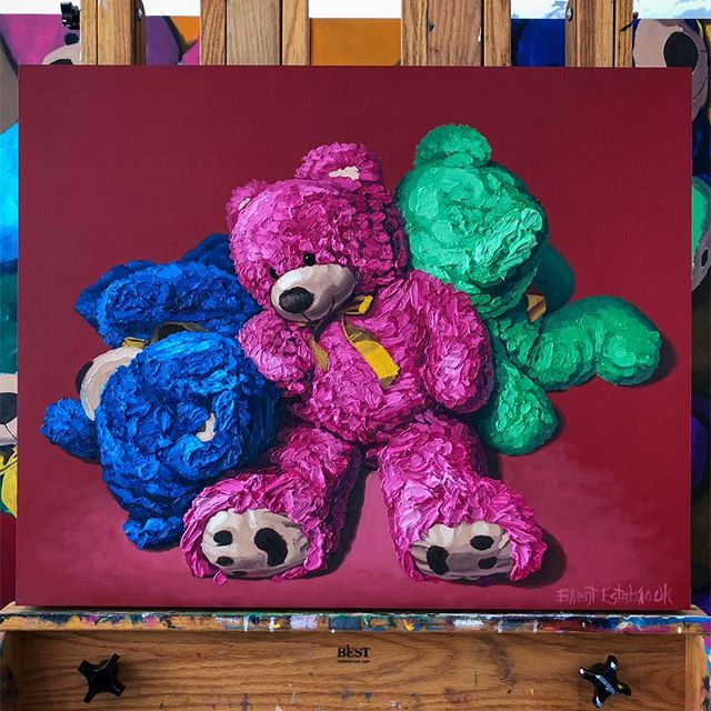 "🐻🐻🐻, oil (a lot of it) on panel, 24""x30"" All enquires please email ✉️ info@jameswrightgallery.com ✉️ www.brentestabrook.com 