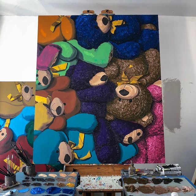 "🐻🐻🐻 Part 1 of a diptych. Very much a work in progress but well on its way 😜. This piece will ultimately be 120""x72"" (305cm x 183cm) oil on panel. All enquires please email ✉️ info@jameswrightgallery.com ✉️ www.brentestabrook.com 