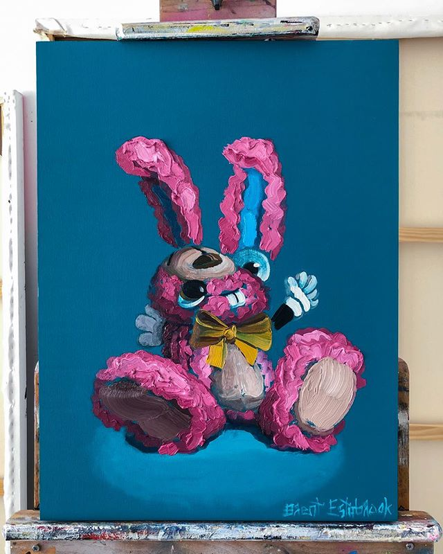 "😜🐰🎨 oil on panel, 24""x18"" All enquires please email ✉️ info@jameswrightgallery.com ✉️ www.brentestabrook.com 