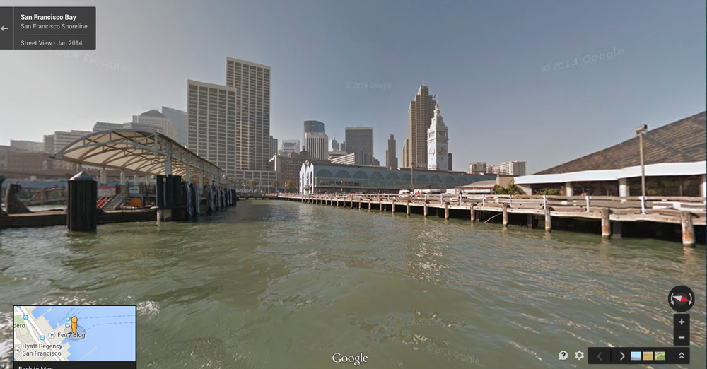 Google street view of San Francisco coast mapped with WAM-V USV