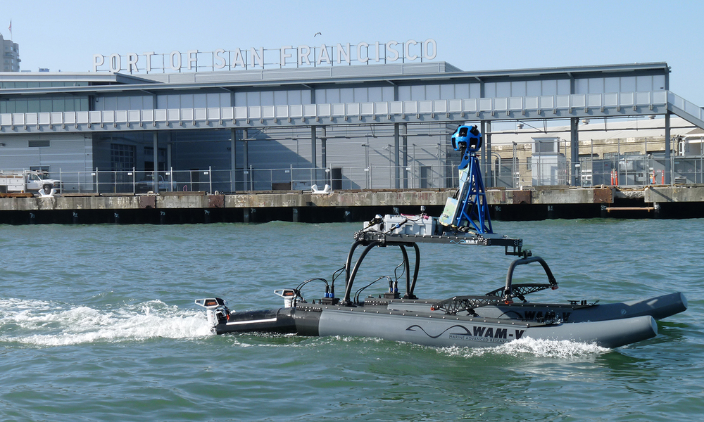 WAM-V USV with Google Trekker by the Port of San Francisco