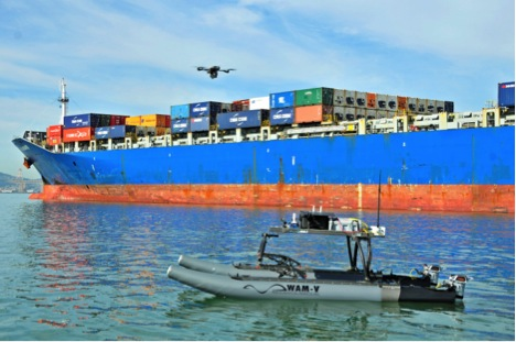 A WAM-V USV participates in JIFX, a port security exercise in the San Francisco Bay