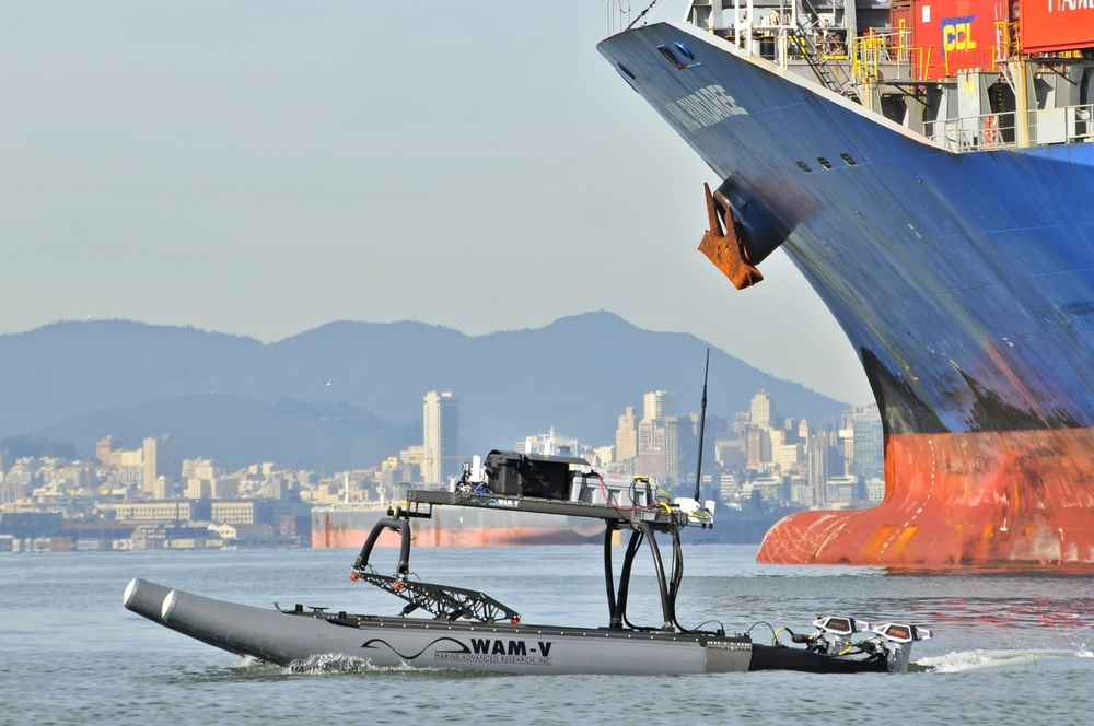 WAM-V USV at the JIFX port security exercise in the San Francisco Bay.