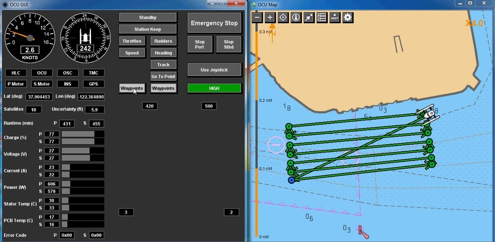 Control and communication software: MARCODE™ - Graphical User Interface (GUI) for: • Autonomous waypoint navigation• Manual control• Real-time vessel & sensor data display