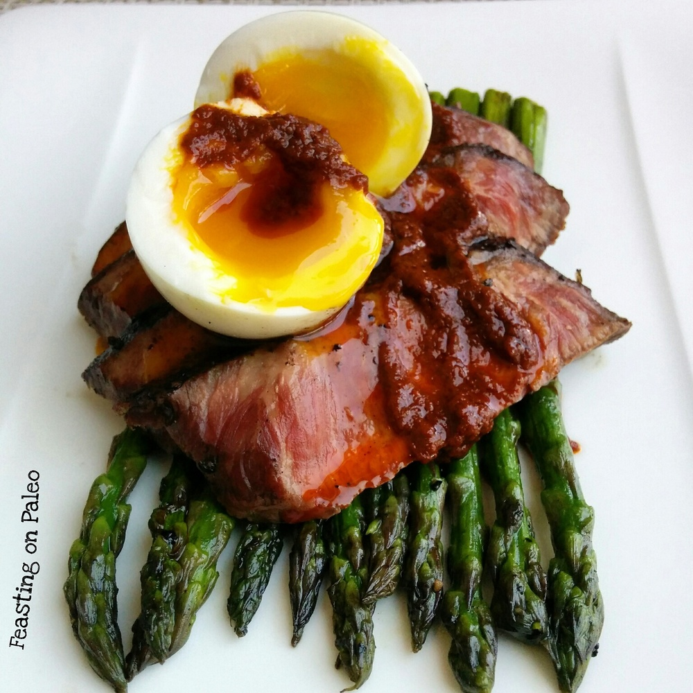 Flat Iron Steak, Soft Cooked Egg, Harissa, and Asparagus