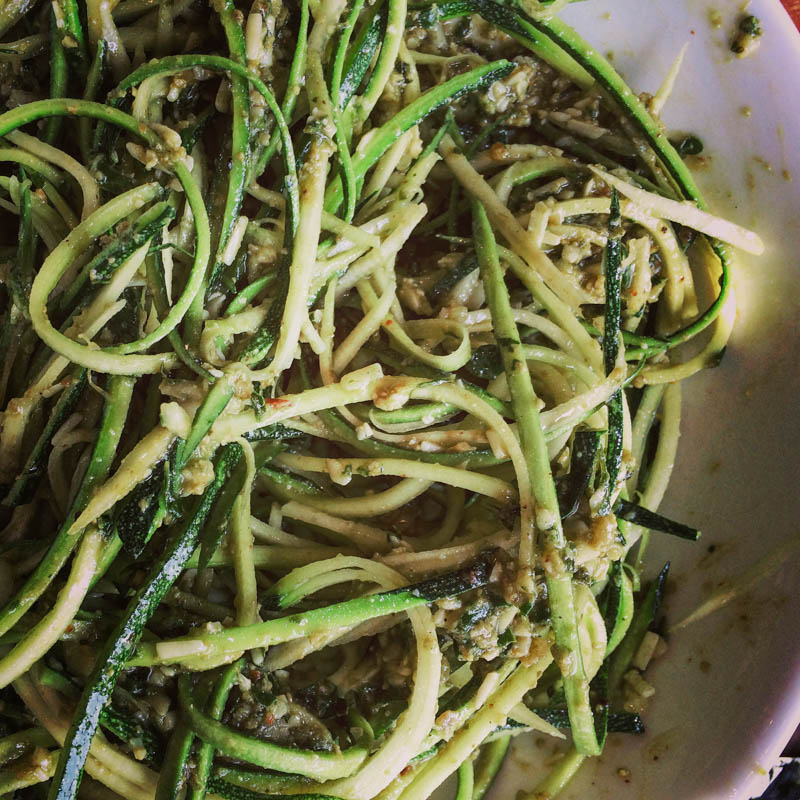 Pesto and Courgetti