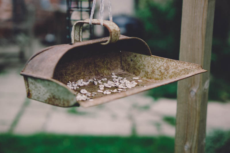 Upcycling a dustpan into a bird 'table'