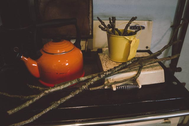 Sticks drying on the Rayburn for festive decoration making