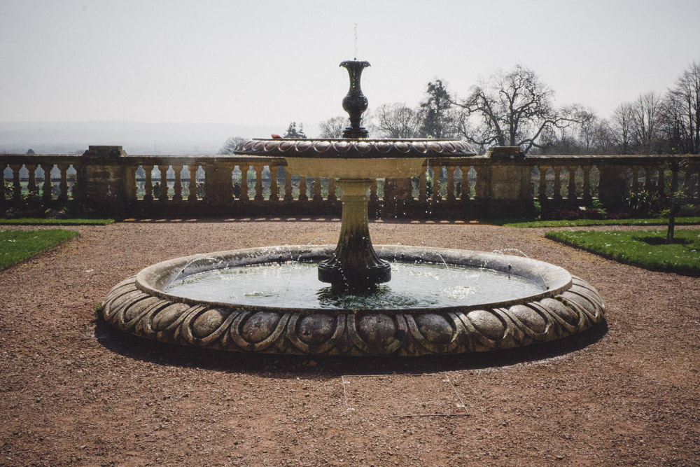Fountain with a hazy view to the Blackdown Hills