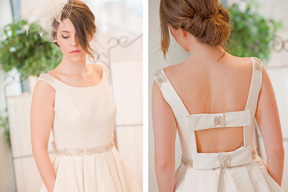 Vestido de mikado, con lazos, pedreríay la espalda al aire. / Mikado wedding dress by A. Ochandorena.