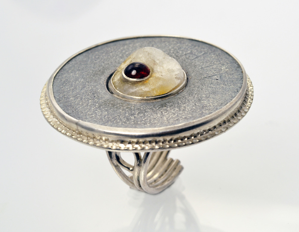Ring #1 - steel washer, rock, garnet, sterling silver