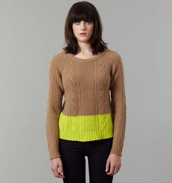 Neon acid yellow Arran style cable sweater