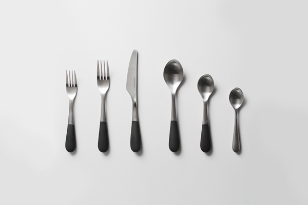 matt steel cutlery set