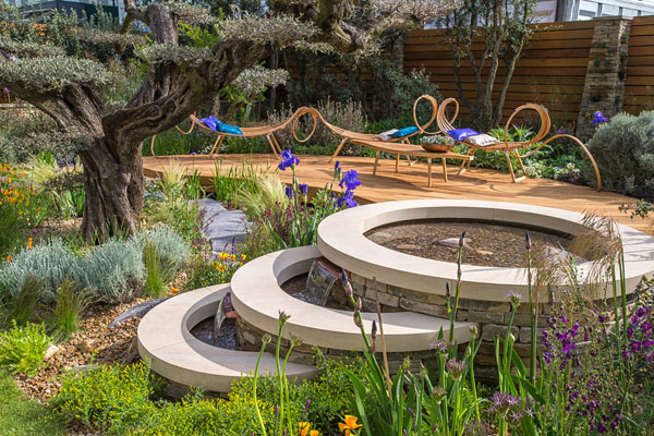 The finished design next to the olive tree in the Royal Bank of Canada garden. (Image: RHS)