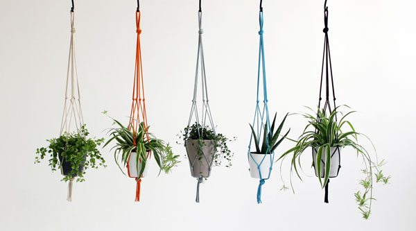 Knotted plant pot holders by Eleanor Bolton