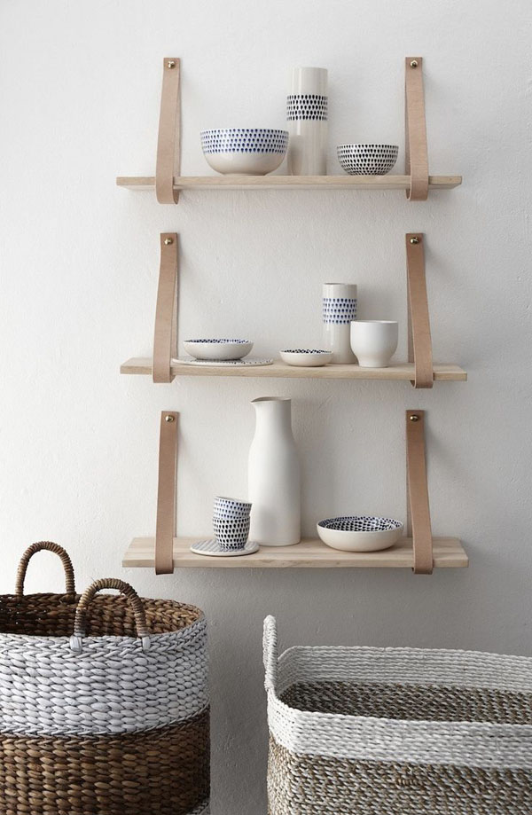 Hubsch leather strap shelf