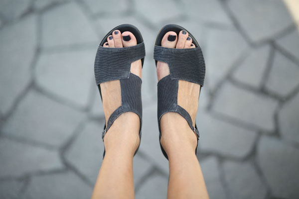 Handmade black woven leather sandals