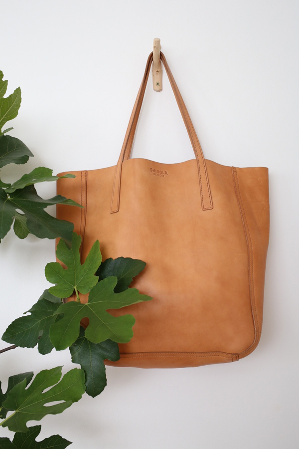 Tan leather shopper tote by Shinola | Design Hunter