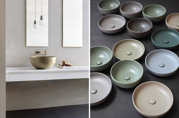 Coloured bathroom basins