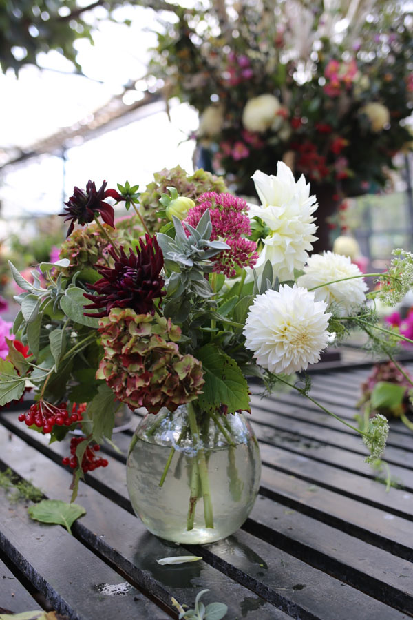 Autumn flower arrangement with dahlias and hydrangeas
