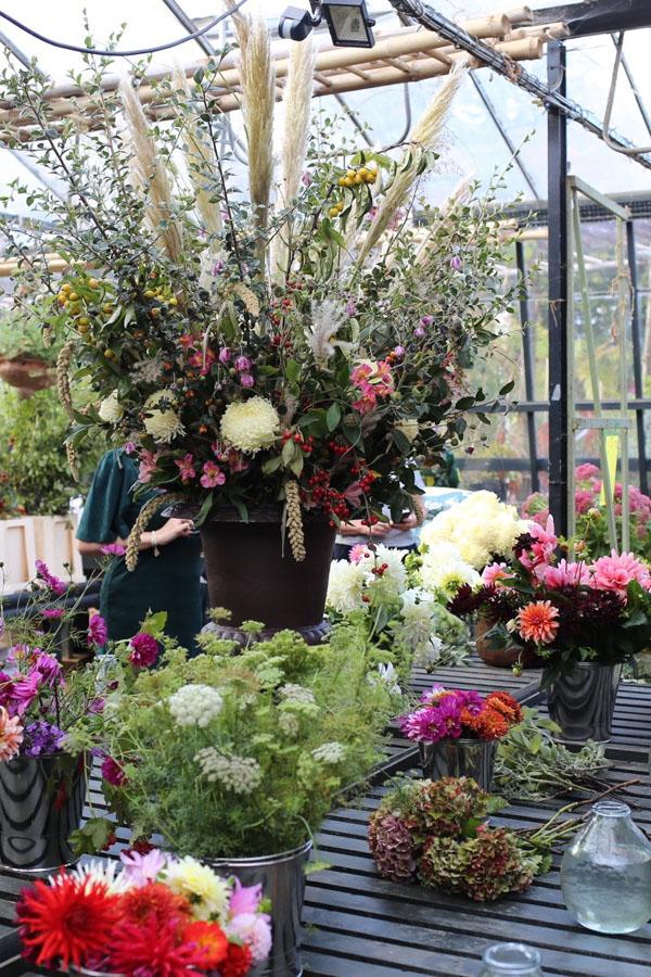 Autumn flower arrangement at Petersham Nurseries