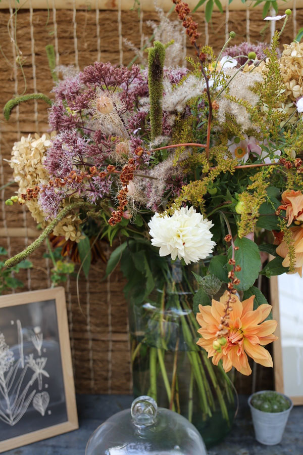 Autumn flower arrangement at Petersham Nurseries