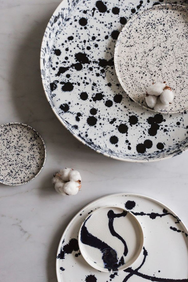 Ink effect ceramics