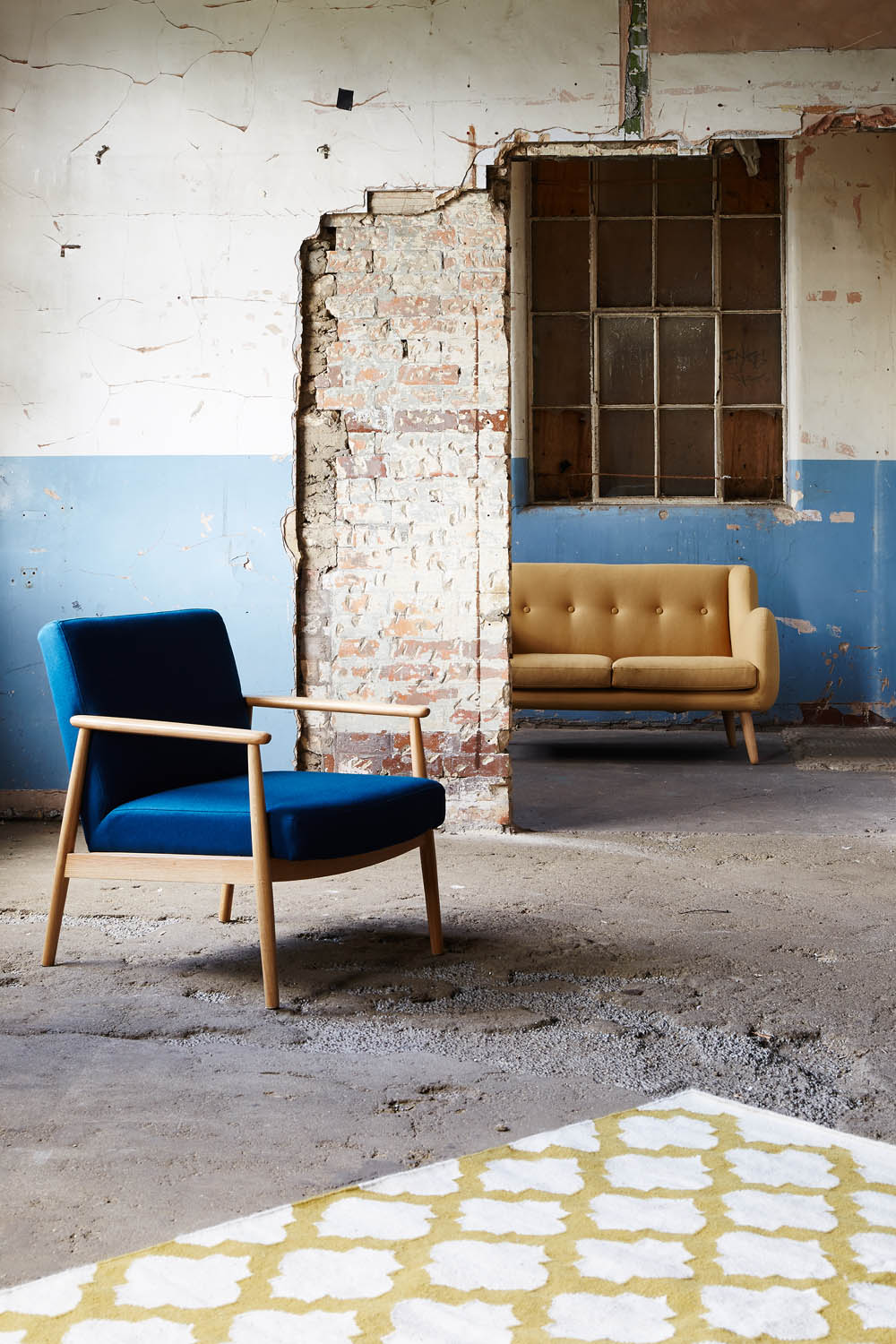 Teal armchair and mustard sofa | Swoon Editions | The Design Hunter Edit