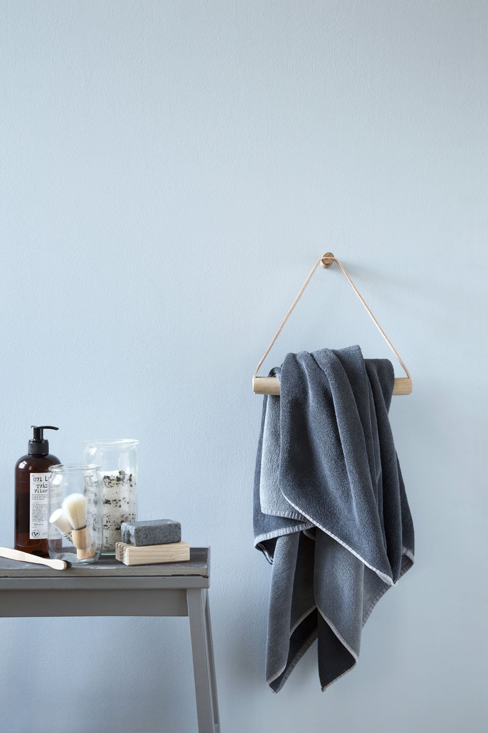 Leather and oak towel hanger | by Wirth